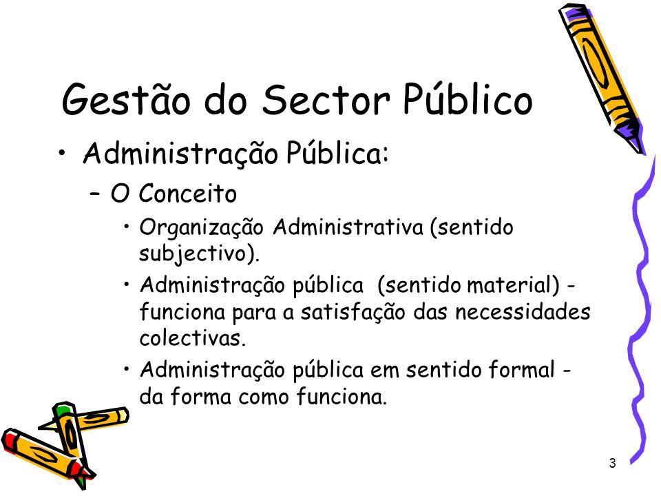 3 Gestão do Sector Público Administração Pública: –O Conceito Organização Administrativa (sentido subjectivo). Administração pública (sentido material