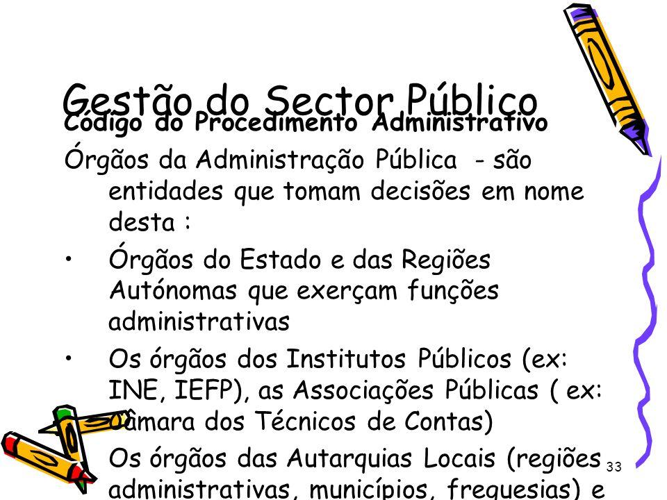 33 Gestão do Sector Público Código do Procedimento Administrativo Órgãos da Administração Pública - são entidades que tomam decisões em nome desta : Ó