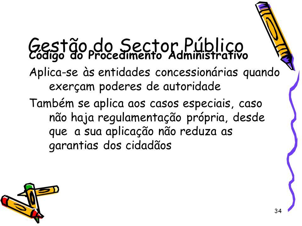 34 Gestão do Sector Público Código do Procedimento Administrativo Aplica-se às entidades concessionárias quando exerçam poderes de autoridade Também s