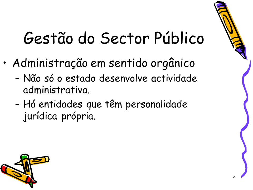 4 Gestão do Sector Público Administração em sentido orgânico –Não só o estado desenvolve actividade administrativa. –Há entidades que têm personalidad