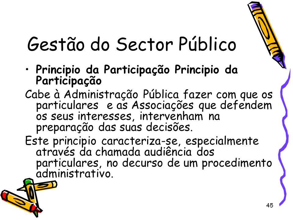 45 Gestão do Sector Público Principio da Participação Cabe à Administração Pública fazer com que os particulares e as Associações que defendem os seus