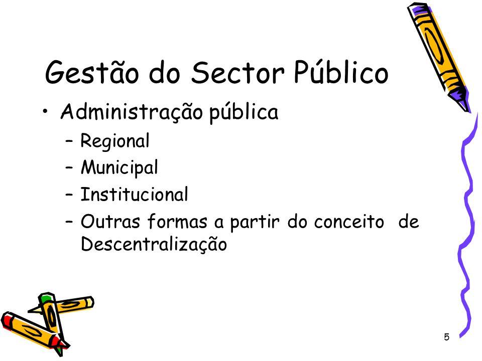 5 Gestão do Sector Público Administração pública –Regional –Municipal –Institucional –Outras formas a partir do conceito de Descentralização