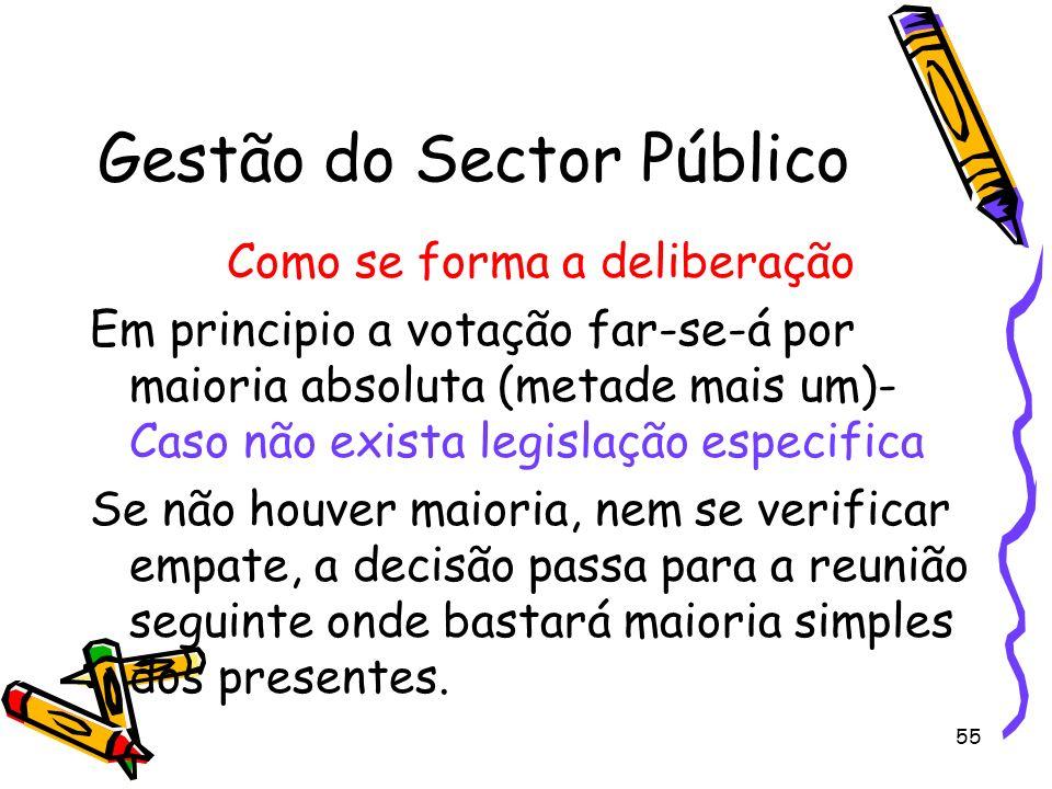 55 Gestão do Sector Público Como se forma a deliberação Em principio a votação far-se-á por maioria absoluta (metade mais um)- Caso não exista legisla