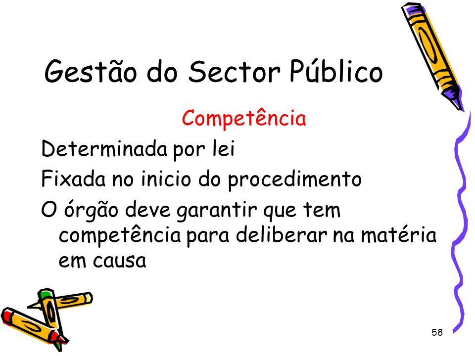 58 Gestão do Sector Público Competência Determinada por lei Fixada no inicio do procedimento O órgão deve garantir que tem competência para deliberar