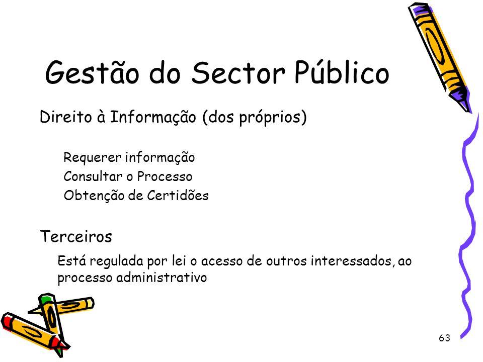63 Gestão do Sector Público Direito à Informação (dos próprios) Requerer informação Consultar o Processo Obtenção de Certidões Terceiros Está regulada