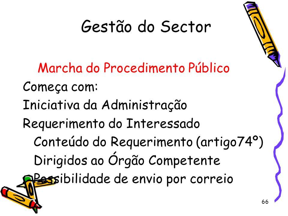 66 Gestão do Sector Marcha do Procedimento Público Começa com: Iniciativa da Administração Requerimento do Interessado Conteúdo do Requerimento (artig