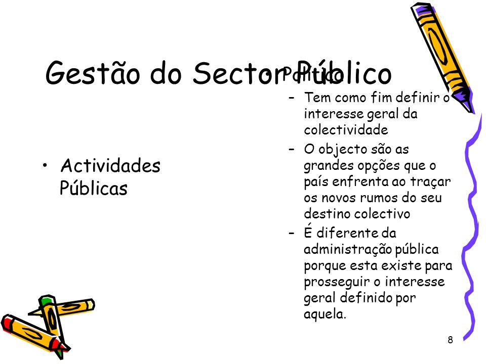 8 Gestão do Sector Público Actividades Públicas Política –Tem como fim definir o interesse geral da colectividade –O objecto são as grandes opções que