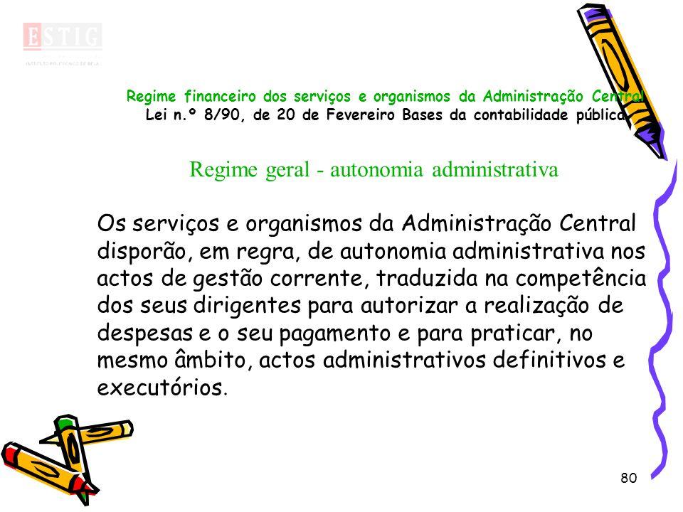 80 Regime financeiro dos serviços e organismos da Administração Central Lei n.º 8/90, de 20 de Fevereiro Bases da contabilidade pública Regime geral -