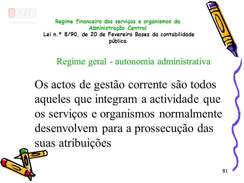 81 Regime financeiro dos serviços e organismos da Administração Central Lei n.º 8/90, de 20 de Fevereiro Bases da contabilidade pública Regime geral -