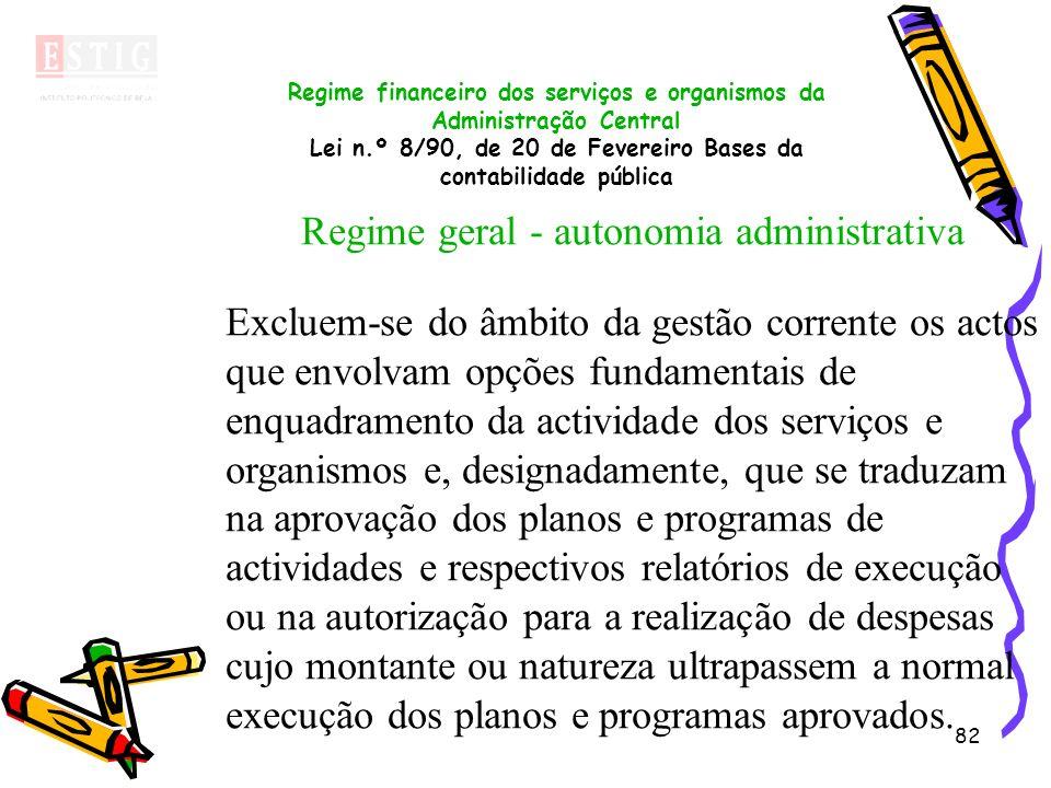 82 Regime financeiro dos serviços e organismos da Administração Central Lei n.º 8/90, de 20 de Fevereiro Bases da contabilidade pública Regime geral -
