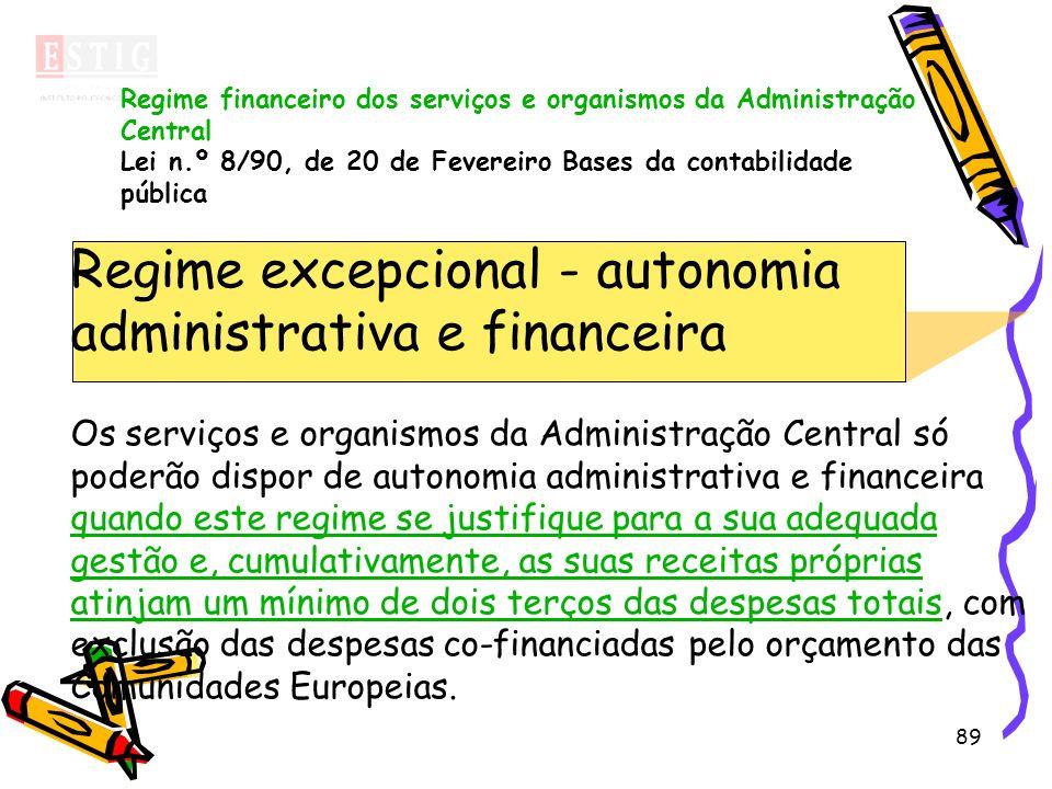 89 Regime excepcional - autonomia administrativa e financeira Os serviços e organismos da Administração Central só poderão dispor de autonomia adminis