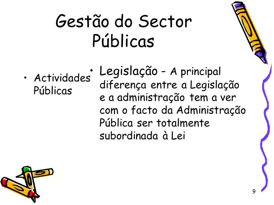 9 Gestão do Sector Públicas Actividades Públicas Legislação - A principal diferença entre a Legislação e a administração tem a ver com o facto da Admi