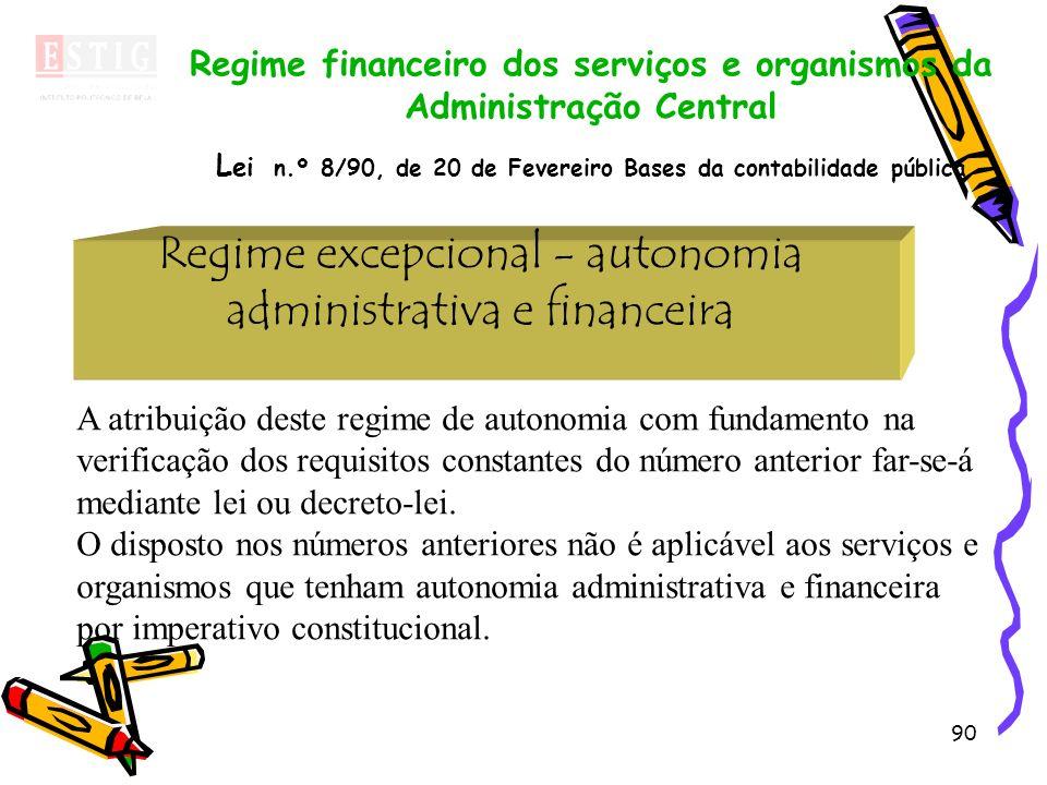 90 Regime excepcional - autonomia administrativa e financeira Regime financeiro dos serviços e organismos da Administração Central L ei n.º 8/90, de 2