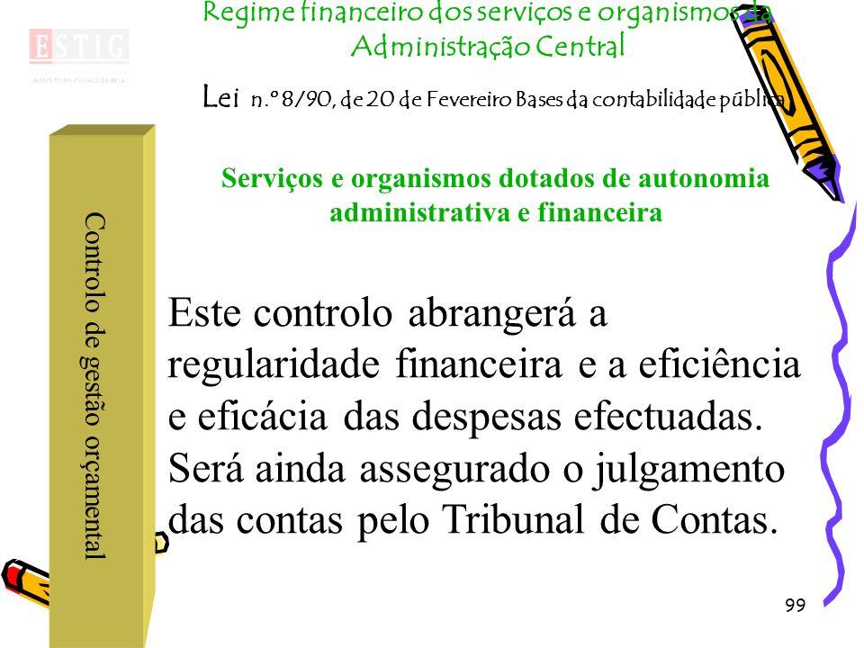 99 Controlo de gestão orçamental Regime financeiro dos serviços e organismos da Administração Central L ei n.º 8/90, de 20 de Fevereiro Bases da conta