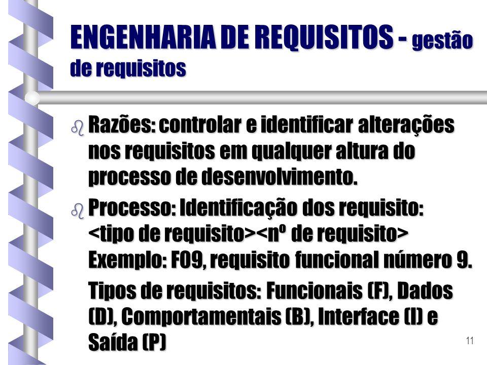 11 ENGENHARIA DE REQUISITOS - gestão de requisitos b Razões: controlar e identificar alterações nos requisitos em qualquer altura do processo de desen
