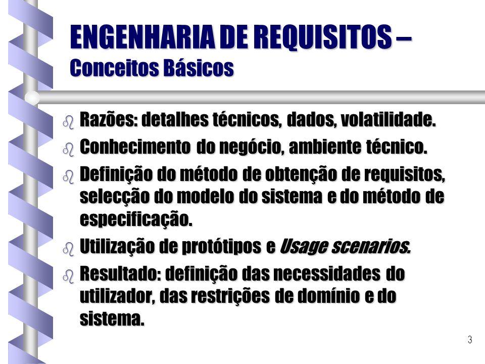 3 ENGENHARIA DE REQUISITOS – Conceitos Básicos b Razões: detalhes técnicos, dados, volatilidade. b Conhecimento do negócio, ambiente técnico. b Defini