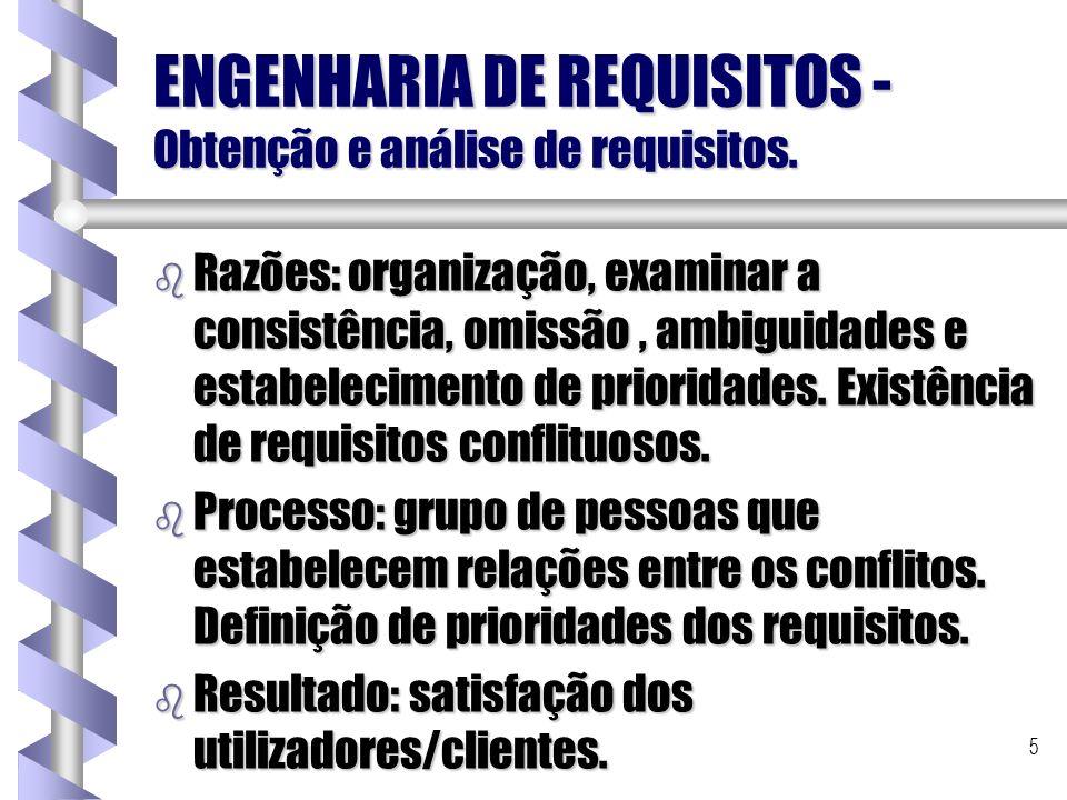 5 ENGENHARIA DE REQUISITOS - Obtenção e análise de requisitos. b Razões: organização, examinar a consistência, omissão, ambiguidades e estabelecimento