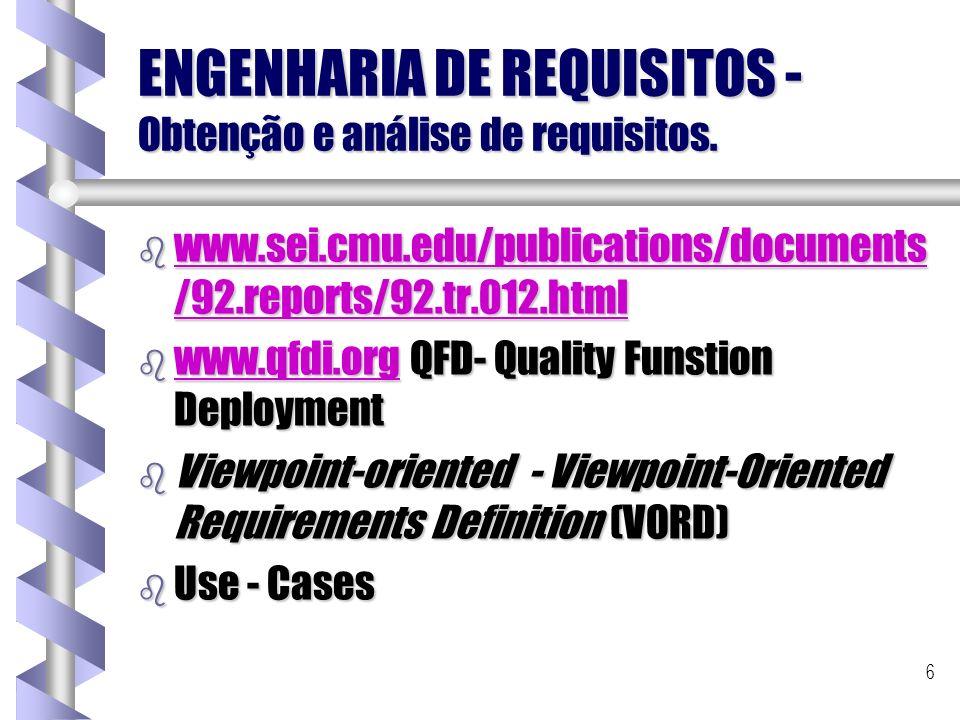 6 ENGENHARIA DE REQUISITOS - Obtenção e análise de requisitos. b www.sei.cmu.edu/publications/documents /92.reports/92.tr.012.html www.sei.cmu.edu/pub