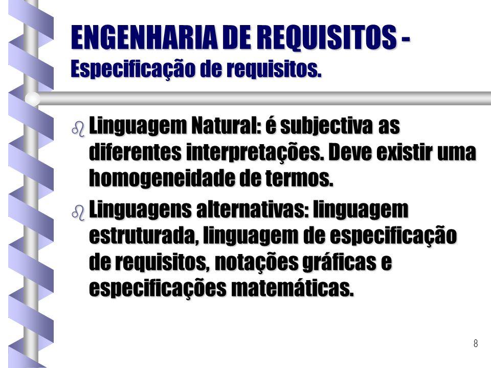 8 ENGENHARIA DE REQUISITOS - Especificação de requisitos. b Linguagem Natural: é subjectiva as diferentes interpretações. Deve existir uma homogeneida