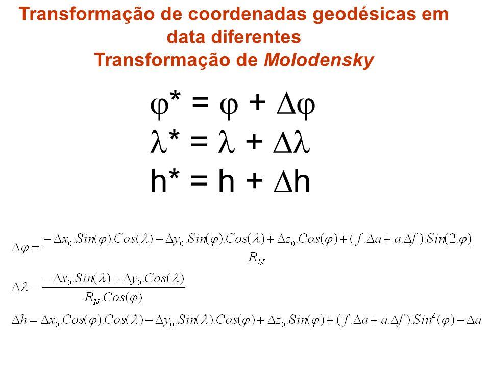 * = + h* = h + h Transformação de coordenadas geodésicas em data diferentes Transformação de Molodensky