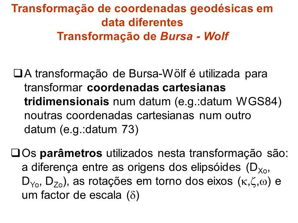 A transformação de Bursa-Wölf é utilizada para transformar coordenadas cartesianas tridimensionais num datum (e.g.:datum WGS84) noutras coordenadas cartesianas num outro datum (e.g.:datum 73) Os parâmetros utilizados nesta transformação são: a diferença entre as origens dos elipsóides (D Xo, D Yo, D Zo ), as rotações em torno dos eixos (,, ) e um factor de escala ( ) Transformação de coordenadas geodésicas em data diferentes Transformação de Bursa - Wolf