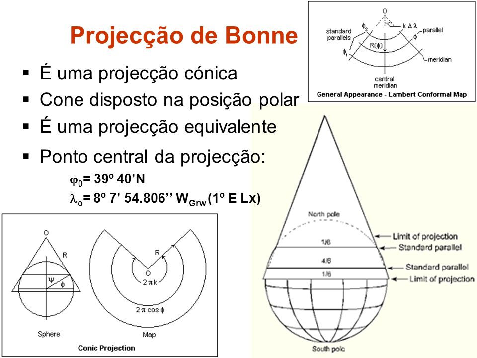 É uma projecção cónica Cone disposto na posição polar É uma projecção equivalente Ponto central da projecção: 0 = 39º 40N o = 8º 7 54.806 W Grw (1º E Lx) Projecção de Bonne