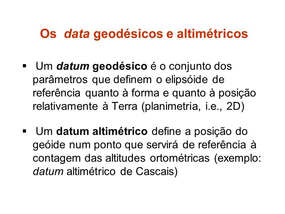 Os data geodésicos e altimétricos Um datum geodésico é o conjunto dos parâmetros que definem o elipsóide de referência quanto à forma e quanto à posição relativamente à Terra (planimetria, i.e., 2D) Um datum altimétrico define a posição do geóide num ponto que servirá de referência à contagem das altitudes ortométricas (exemplo: datum altimétrico de Cascais)