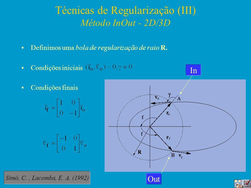 Técnicas de Regularização (III) Método InOut - 2D/3D Definimos uma bola de regularização de raio R. Condições iniciais Condições finais In Out Simó, C