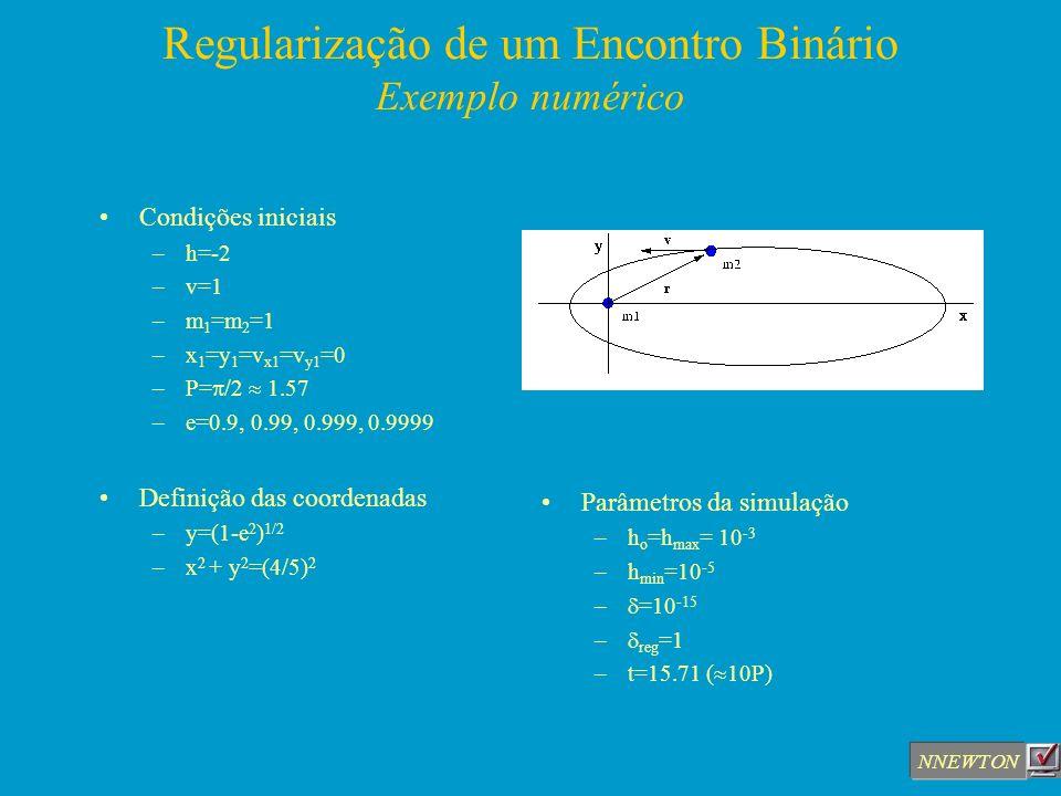 Regularização de um Encontro Binário Exemplo numérico Condições iniciais –h=-2 –v=1 –m 1 =m 2 =1 –x 1 =y 1 =v x1 =v y1 =0 –P= /2 1.57 –e=0.9, 0.99, 0.