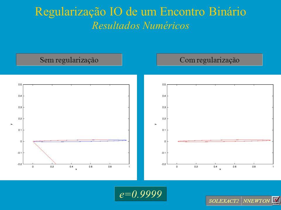 Regularização IO de um Encontro Binário Resultados Numéricos Sem regularizaçãoCom regularização NNEWTON e=0.9999 SOLEXACT2