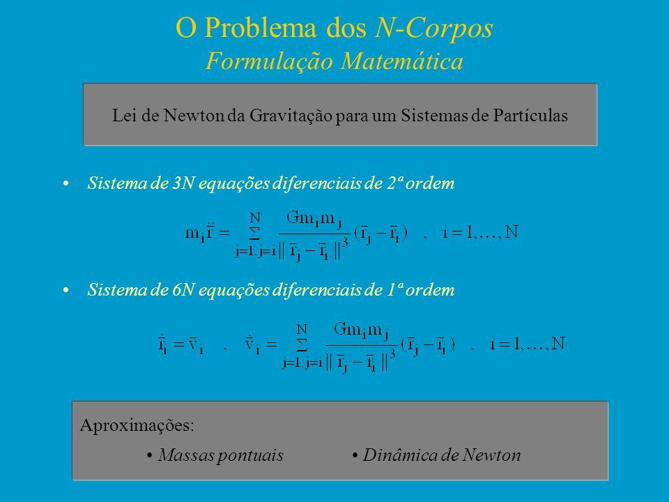 O Problema dos N-Corpos Formulação Matemática Sistema de 3N equações diferenciais de 2ª ordem Sistema de 6N equações diferenciais de 1ª ordem Aproxima