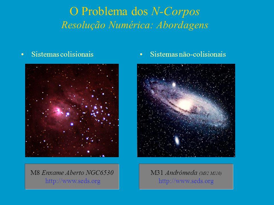 O Problema dos N-Corpos Resolução Numérica: Abordagens Sistemas colisionaisSistemas não-colisionais M8 Enxame Aberto NGC6530 http://www.seds.org M31 A
