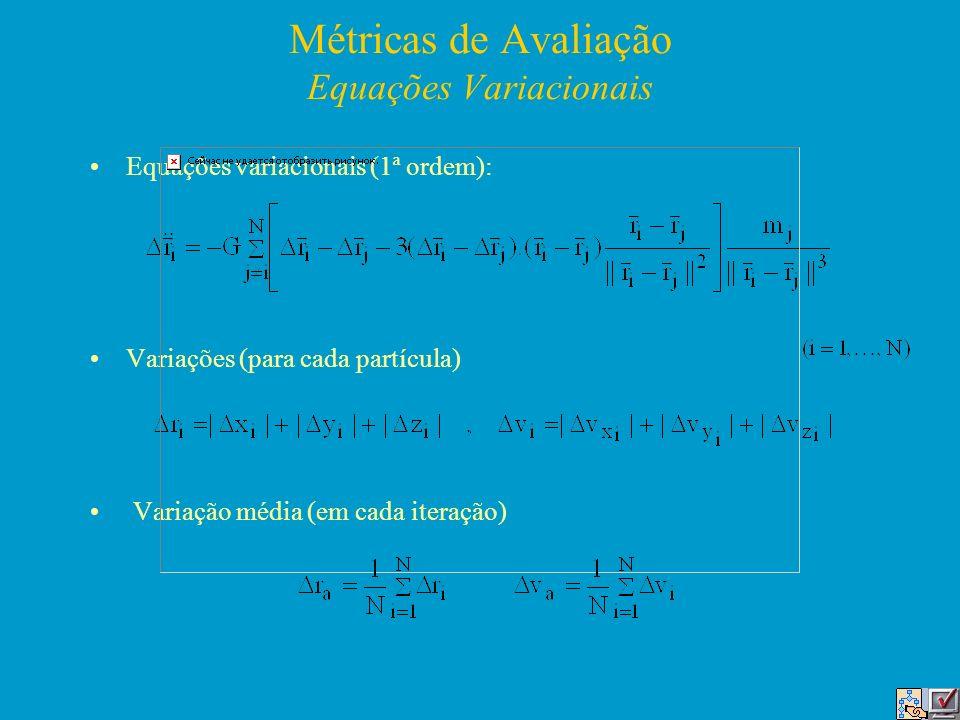 Métricas de Avaliação Equações Variacionais Equações variacionais (1ª ordem): Variações (para cada partícula) Variação média (em cada iteração)
