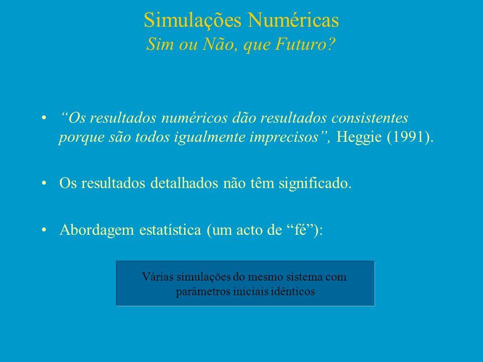 Simulações Numéricas Sim ou Não, que Futuro? Os resultados numéricos dão resultados consistentes porque são todos igualmente imprecisos, Heggie (1991)