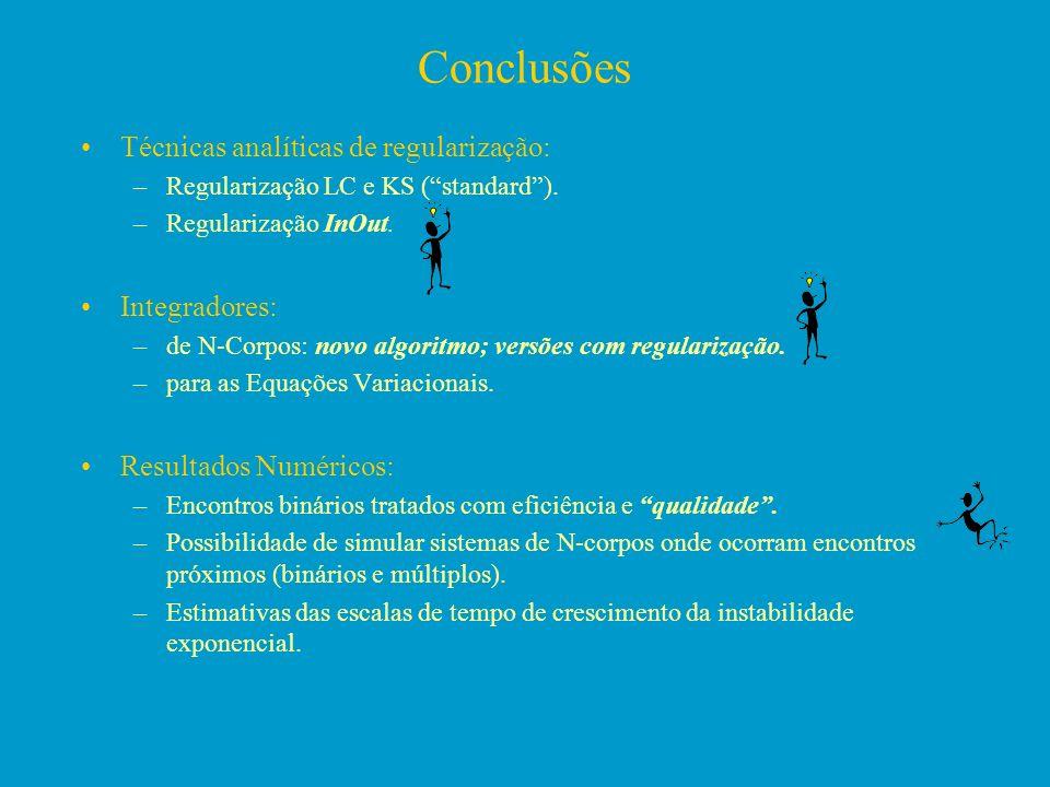 Conclusões Técnicas analíticas de regularização: –Regularização LC e KS (standard). –Regularização InOut. Integradores: –de N-Corpos: novo algoritmo;