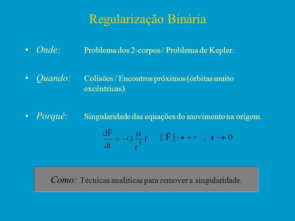 Regularização Binária Onde: Problema dos 2-corpos / Problema de Kepler. Quando: Colisões / Encontros próximos (órbitas muito excêntricas). Porquê: Sin