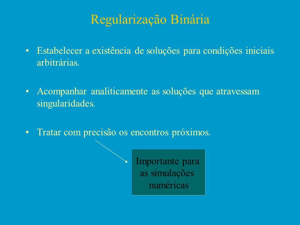 Regularização Binária Estabelecer a existência de soluções para condições iniciais arbitrárias. Acompanhar analiticamente as soluções que atravessam s