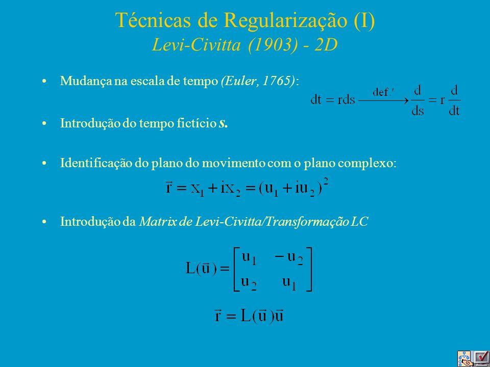 Técnicas de Regularização (I) Levi-Civitta (1903) - 2D Mudança na escala de tempo (Euler, 1765): Introdução do tempo fictício s. Identificação do plan