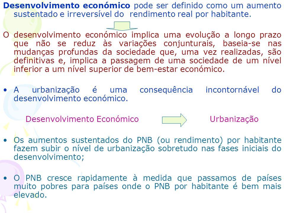 Desenvolvimento económico pode ser definido como um aumento sustentado e irreversível do rendimento real por habitante.