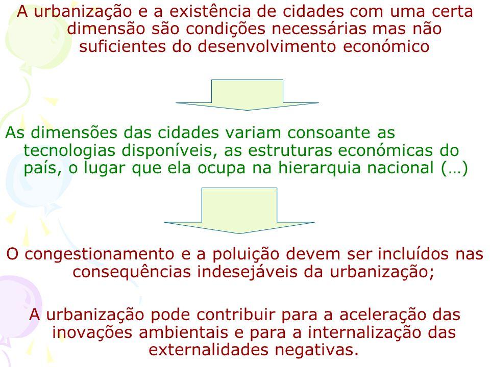 Cidade e Desenvolvimento: conclusões A urbanização é a tradução no espaço da afectação mais eficaz dos recursos entre a cidade e o campo; o resultado