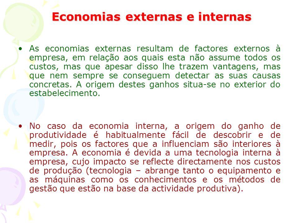 Economias externas e internas As economias externas resultam de factores externos à empresa, em relação aos quais esta não assume todos os custos, mas que apesar disso lhe trazem vantagens, mas que nem sempre se conseguem detectar as suas causas concretas.