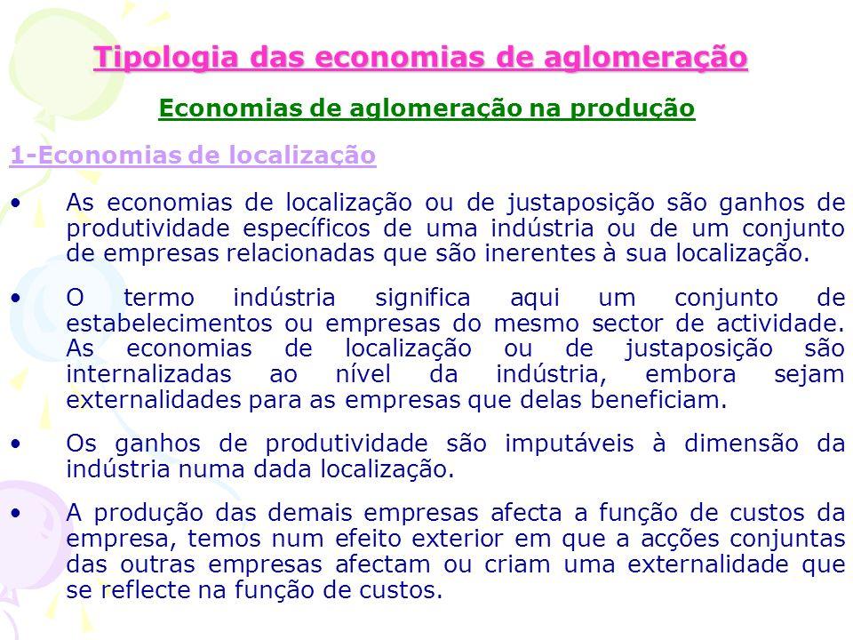 Tipologia das economias de aglomeração Economias de aglomeração na produção 1-Economias de localização As economias de localização ou de justaposição são ganhos de produtividade específicos de uma indústria ou de um conjunto de empresas relacionadas que são inerentes à sua localização.