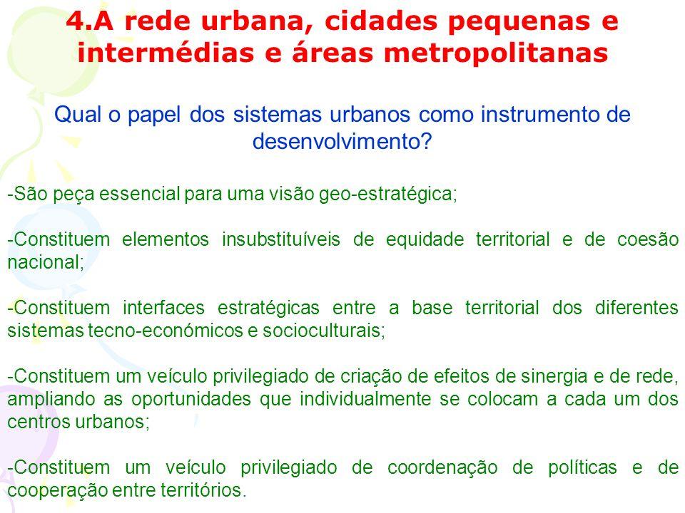 4.A rede urbana, cidades pequenas e intermédias e áreas metropolitanas Qual o papel dos sistemas urbanos como instrumento de desenvolvimento.