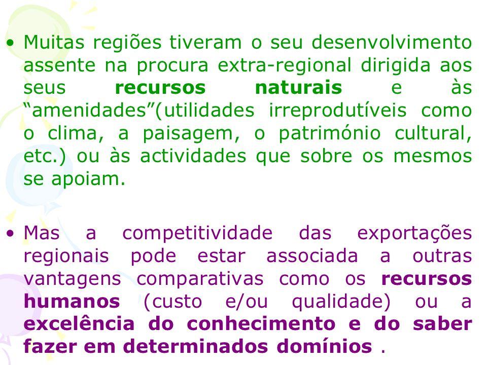 Muitas regiões tiveram o seu desenvolvimento assente na procura extra-regional dirigida aos seus recursos naturais e às amenidades(utilidades irreprodutíveis como o clima, a paisagem, o património cultural, etc.) ou às actividades que sobre os mesmos se apoiam.