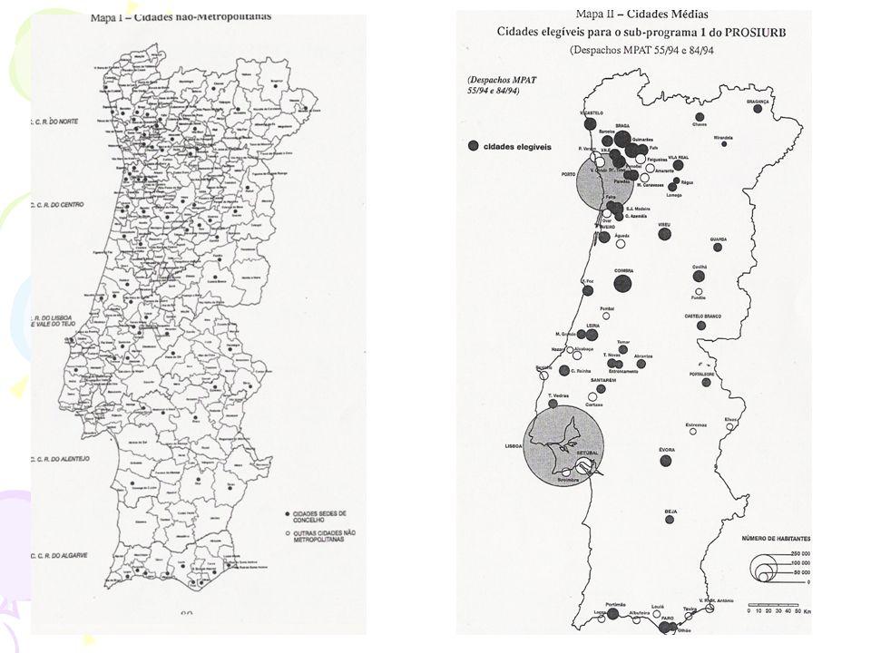 Caracterização e dinâmica das cidades portuguesas não- metropolitanas Em Portugal cerca de 39% da população do continente reside nas AM de Lisboa e Po