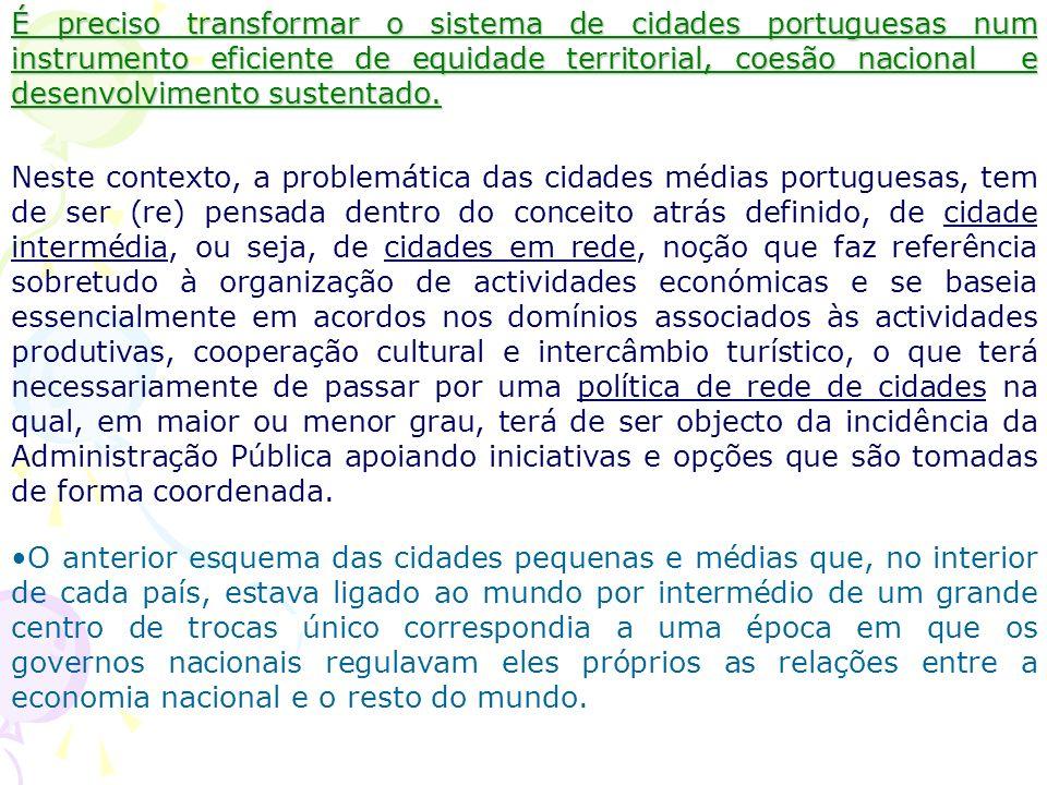 Que política para as cidades médias/intermédias? Neste contexto, Portugal encontra-se em desvantagem, na medida em que o sistema está fortemente polar