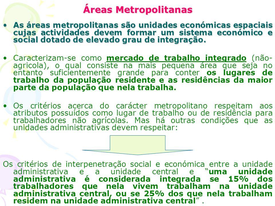 Áreas Metropolitanas As áreas metropolitanas são unidades económicas espaciais cujas actividades devem formar um sistema económico e social dotado de elevado grau de integração.As áreas metropolitanas são unidades económicas espaciais cujas actividades devem formar um sistema económico e social dotado de elevado grau de integração.