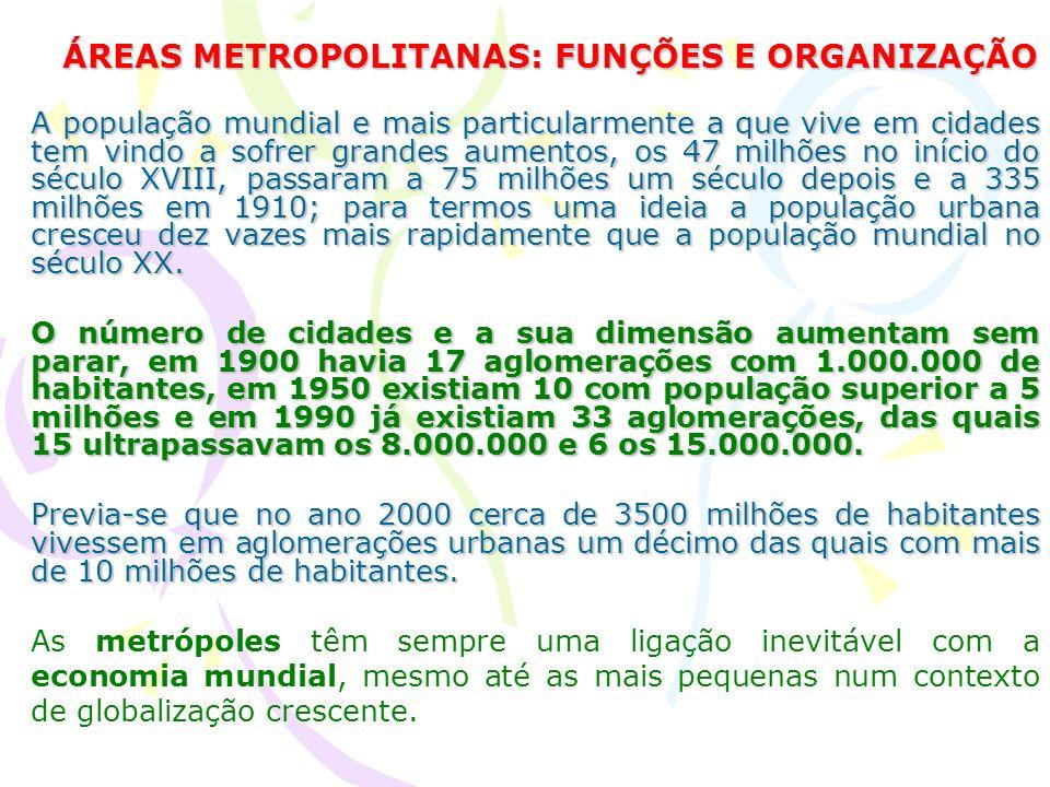 Áreas Metropolitanas As áreas metropolitanas são unidades económicas espaciais cujas actividades devem formar um sistema económico e social dotado de