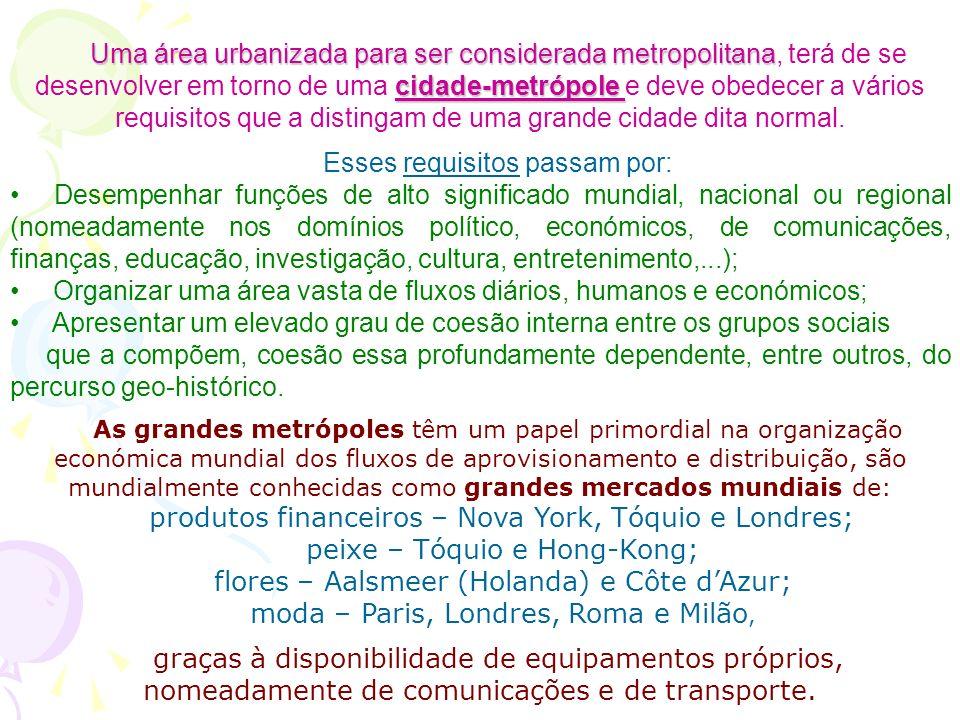 Uma área urbanizada para ser considerada metropolitana cidade-metrópole Uma área urbanizada para ser considerada metropolitana, terá de se desenvolver em torno de uma cidade-metrópole e deve obedecer a vários requisitos que a distingam de uma grande cidade dita normal.