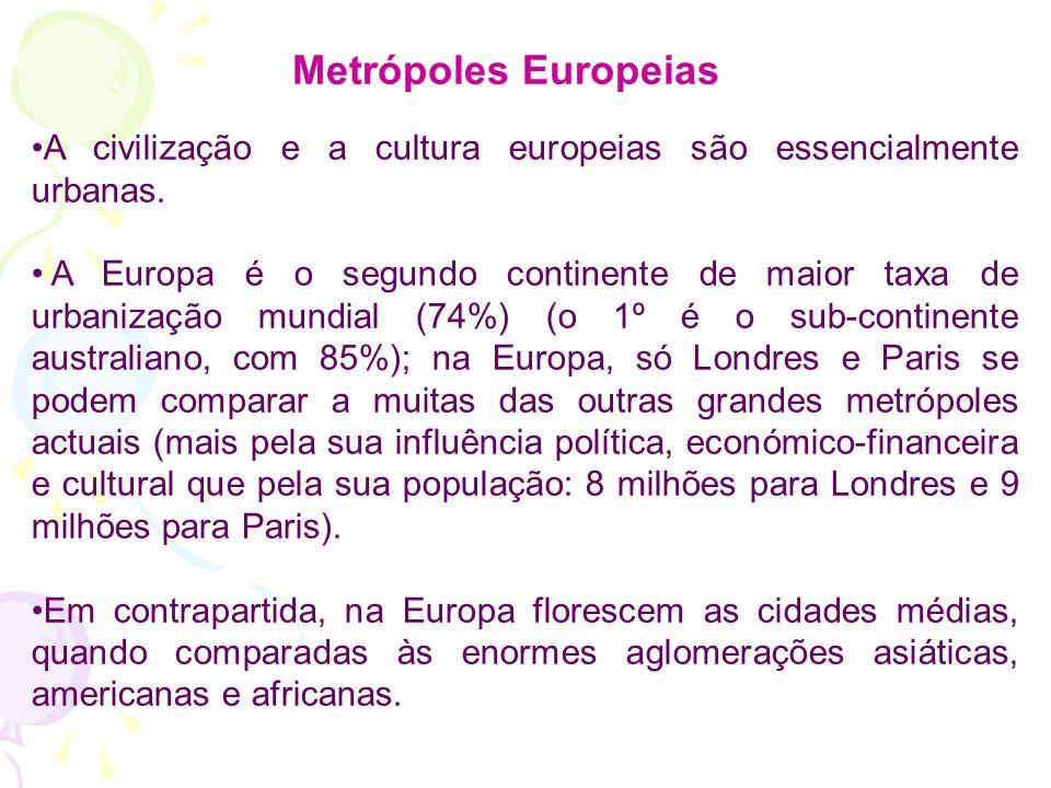 Metrópoles Europeias A civilização e a cultura europeias são essencialmente urbanas.